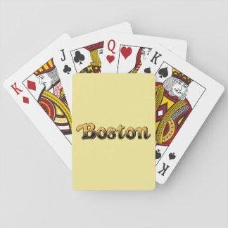 Boston rayé jaune et noir cartes à jouer