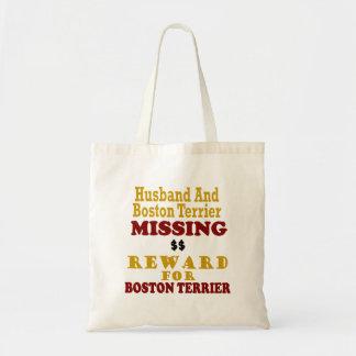 Boston Terrier et récompense absente de mari pour Sac