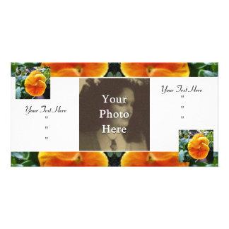 Botanique naturel de pensées oranges vibrantes modèle pour photocarte