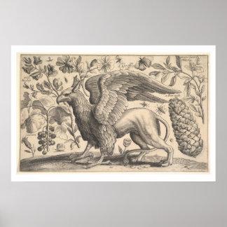 Botanique vintage de mythologie grecque de griffon posters