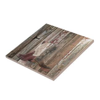 Botte de cowboy occidentale de pays en bois petit carreau carré