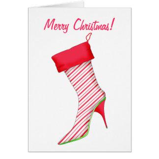 Botte de talon haut d'amant de chaussure stockant carte de vœux