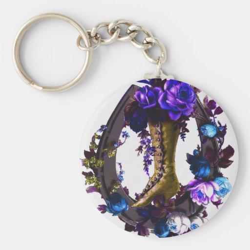 Botte florale vintage de Goth et fer à cheval chan Porte-clés