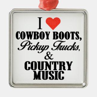 bottes de cowboy du coeur i b ornement carré argenté