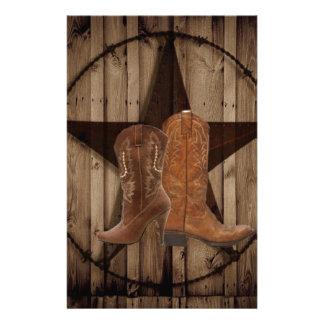 Bottes de cowboy en bois de pays occidental papeterie
