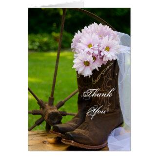 Bottes de cowboy roses rustiques de marguerites cartes