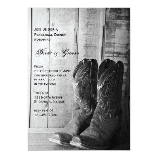Bottes de cowboy rustiques épousant le dîner de carton d'invitation  12,7 cm x 17,78 cm