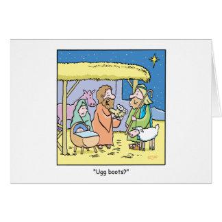 Bottes d'Ugg de bande dessinée de Noël Carte De Vœux