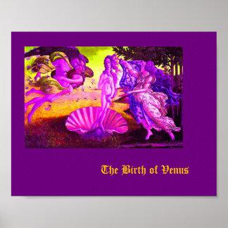 Botticelli vintage changé - naissance pourpre de V Posters