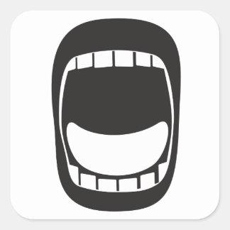 bouche ouverte criarde de louange grande sticker carré