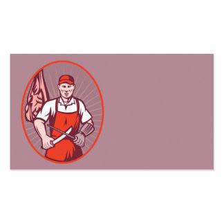 Boucher affilant le couteau dans la boucherie modèles de cartes de visite