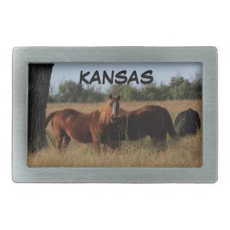Boucle de ceinture carrée de chevaux du Kansas