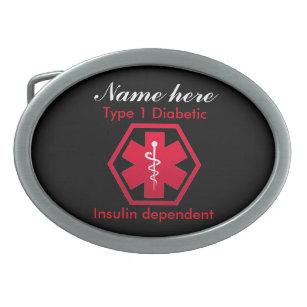 3b0883b189f Boucle De Ceinture Ovale Alerte dépendante d insuline diabétique de type 1