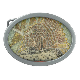 Boucle De Ceinture Ovale Carte antique d'Amsterdam, Hollande aka Pays-Bas