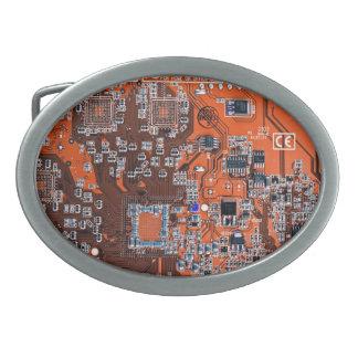 Boucle De Ceinture Ovale Carte de geek d'ordinateur - orange