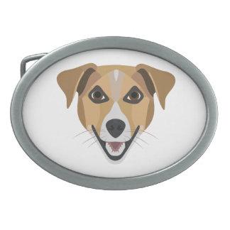 Boucle De Ceinture Ovale Chien Terrier de sourire d'illustration