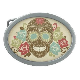 Boucle de ceinture ovale de crâne floral coloré de