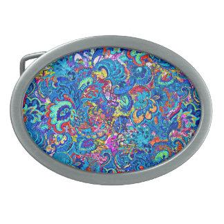 Boucle De Ceinture Ovale Fleurs abstraites colorées mignonnes de peinture
