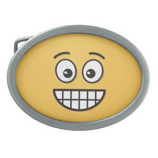 Boucle De Ceinture Ovale Grimacerie du visage avec les yeux ouverts