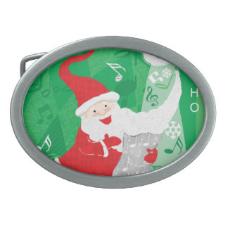 Boucle De Ceinture Ovale Le père noël de Noël, de chant et de danse mignon