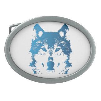 Boucle De Ceinture Ovale Loup de bleu glacier d'illustration
