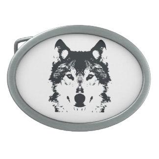 Boucle De Ceinture Ovale Loup noir d'illustration