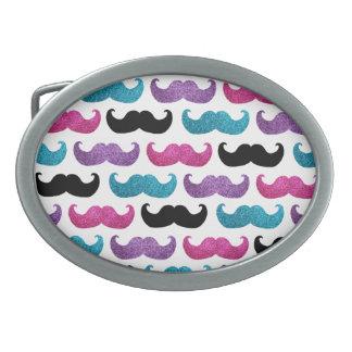 Boucle De Ceinture Ovale Motif bling coloré de moustache (parties