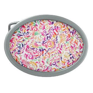 Boucle De Ceinture Ovale Motif de fleurs coloré classique mignon