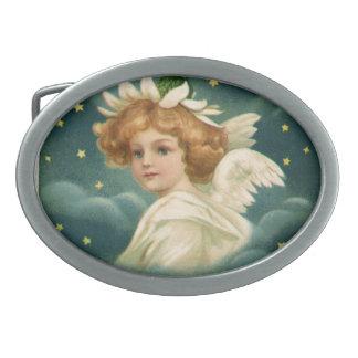 Boucle De Ceinture Ovale Noël vintage, ange victorien avec des étoiles d'or