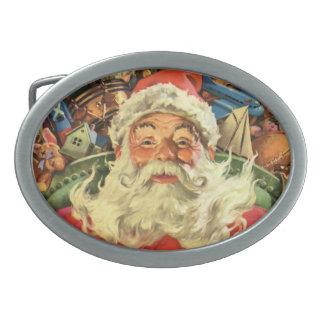 Boucle De Ceinture Ovale Noël vintage, le père noël dans Sleigh avec des