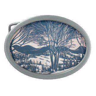 Boucle De Ceinture Ovale Noël vintage, paysage de montagne d'hiver