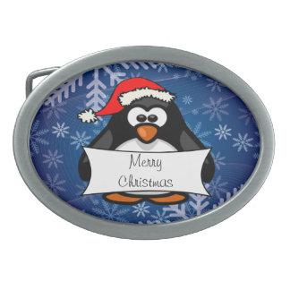 Boucle De Ceinture Ovale Pingouin de Noël