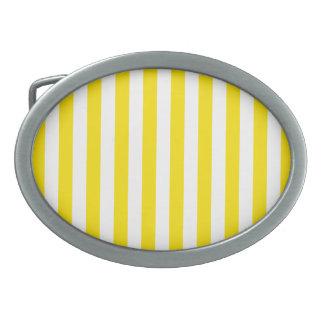 Boucle De Ceinture Ovale Rayures jaunes verticales