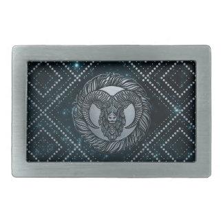 Boucle De Ceinture Rectangulaire Argent de zodiaque de Bélier de relief sur le ciel