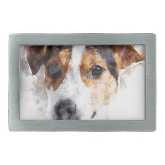 Boucle De Ceinture Rectangulaire Art d'aquarelle de Jack Russell Terrier