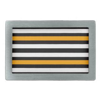 Boucle De Ceinture Rectangulaire Blanc noir orange horizontal de rayures