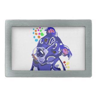 Boucle de ceinture rectangulaire bleue de Terrier