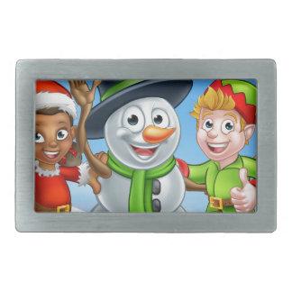 Boucle De Ceinture Rectangulaire Bonhomme de neige de Noël de bande dessinée et