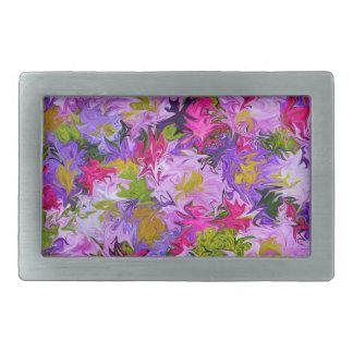 Boucle De Ceinture Rectangulaire Bouquet de conception colorée d'art abstrait de