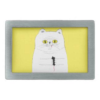 Boucle De Ceinture Rectangulaire Chat avec le dessin drôle de souris