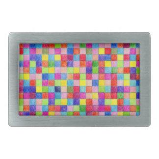 Boucle De Ceinture Rectangulaire Coloré dans des carrés de papier de graphique