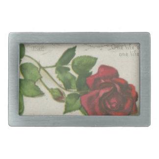 Boucle De Ceinture Rectangulaire Copie de lettre de timbre de rose de cru
