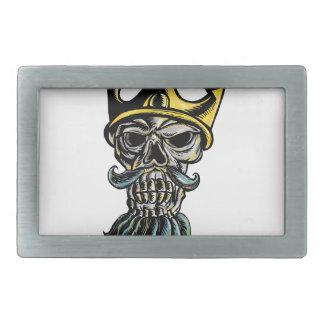 Boucle De Ceinture Rectangulaire Crâne de gravure sur bois en tête de couronne de