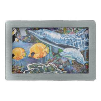 Boucle De Ceinture Rectangulaire Dauphin coloré et poissons tropicaux