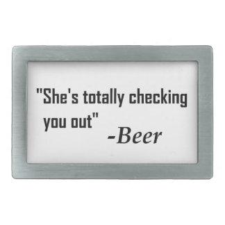 """Boucle De Ceinture Rectangulaire """"Elle vous vérifie totalement"""" - bière"""
