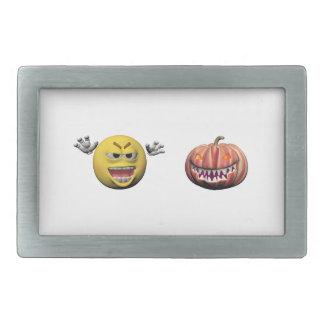 Boucle De Ceinture Rectangulaire Émoticône jaune ou smiley de Halloween