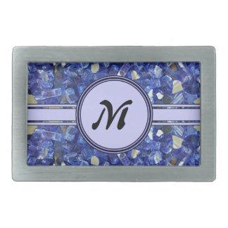 Boucle De Ceinture Rectangulaire Étincelle en verre bleue de monogramme de cristaux