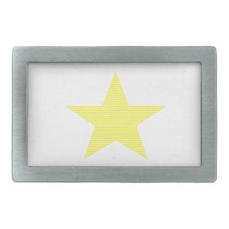 Boucle De Ceinture Rectangulaire Étoile - bandes - jaune et blanc