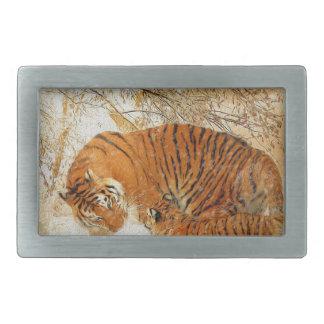 Boucle De Ceinture Rectangulaire Famille de tigre dans une tempête de neige -