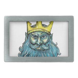 Boucle De Ceinture Rectangulaire Gravure sur bois en tête de couronne de Neptune